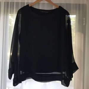 Zara black short sleeve top with attached lining